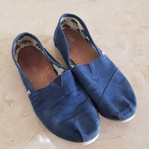 Toms Navy Canvas Slip Ons